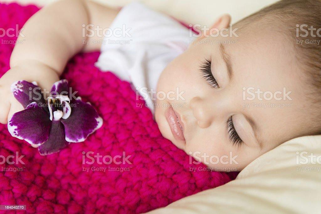 Closeup portrait of sleeping baby royalty-free stock photo