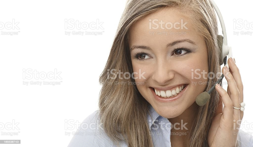 Closeup portrait of smiling dispatcher royalty-free stock photo