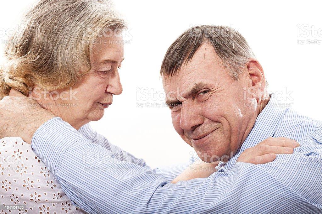 Closeup portrait of smiling elderly couple royalty-free stock photo
