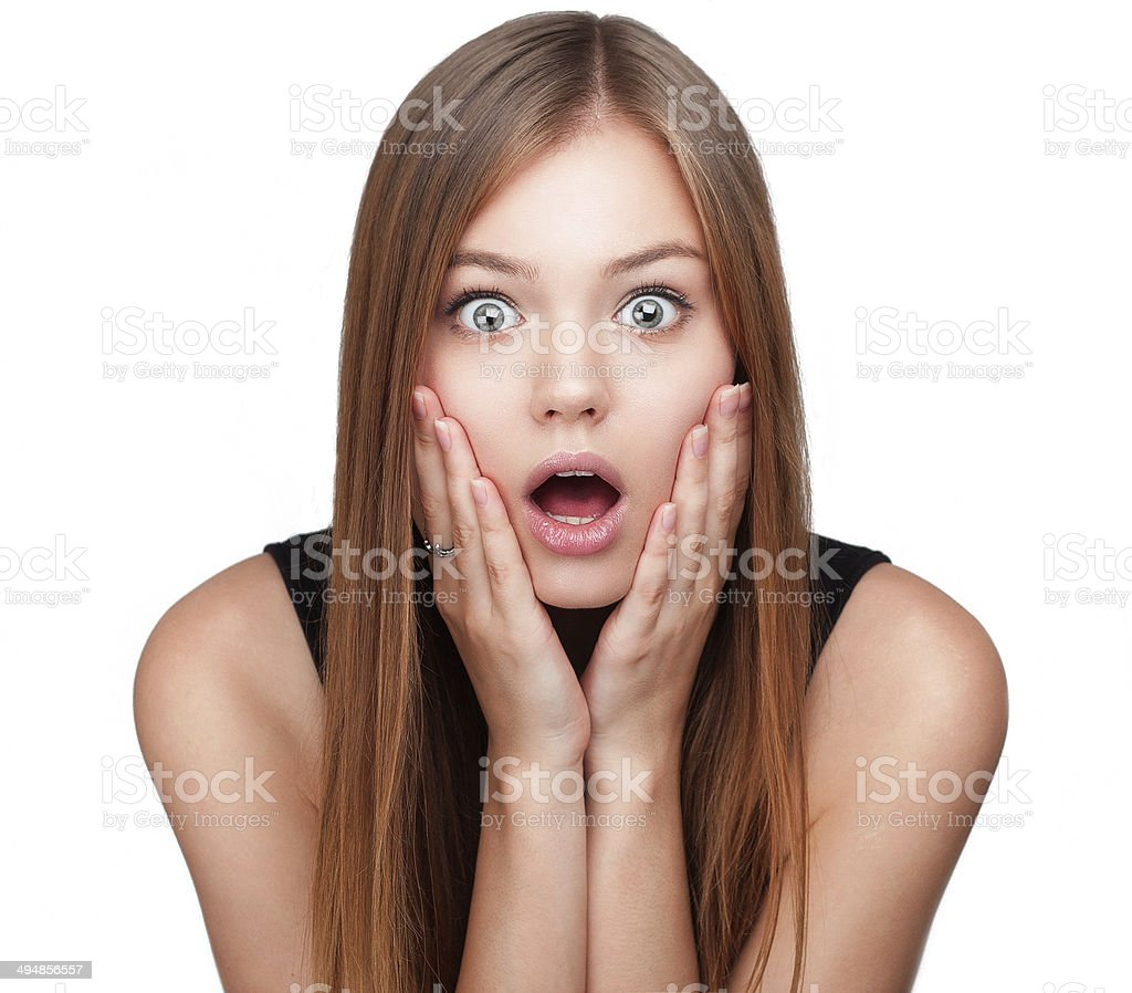 Close-up portrait of surprised beautiful girl stock photo