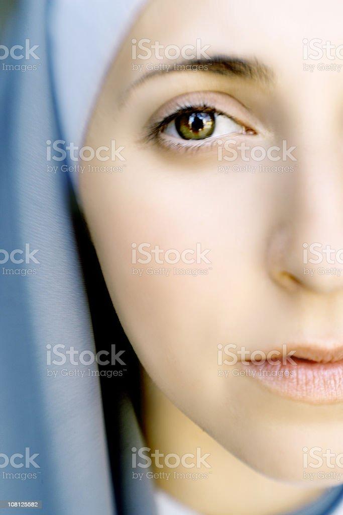 Close-up Portrait of Woman Wearing Nun's Habit stock photo