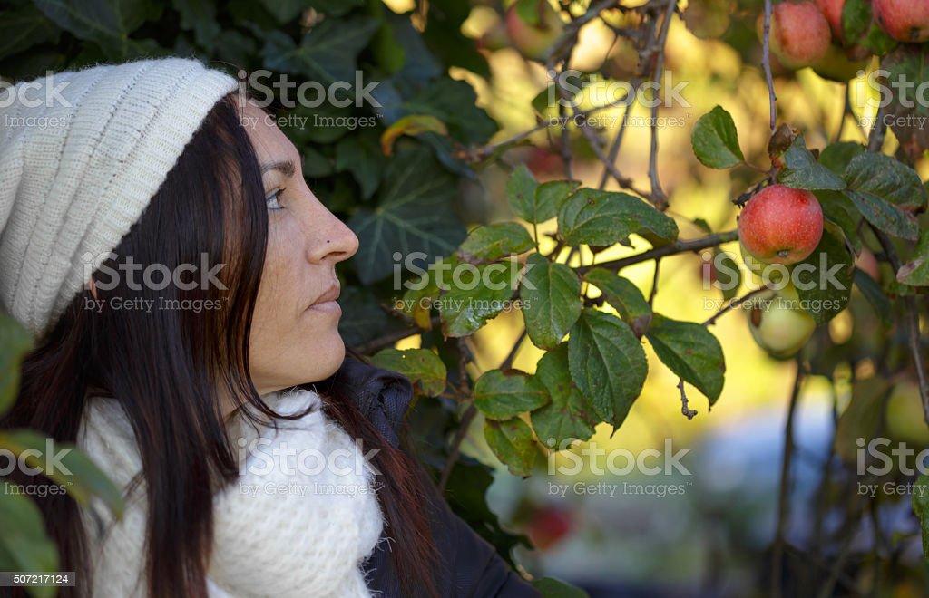 Jovem atraente em detalhe Retrato de morena em uma ensolarada inverno foto royalty-free