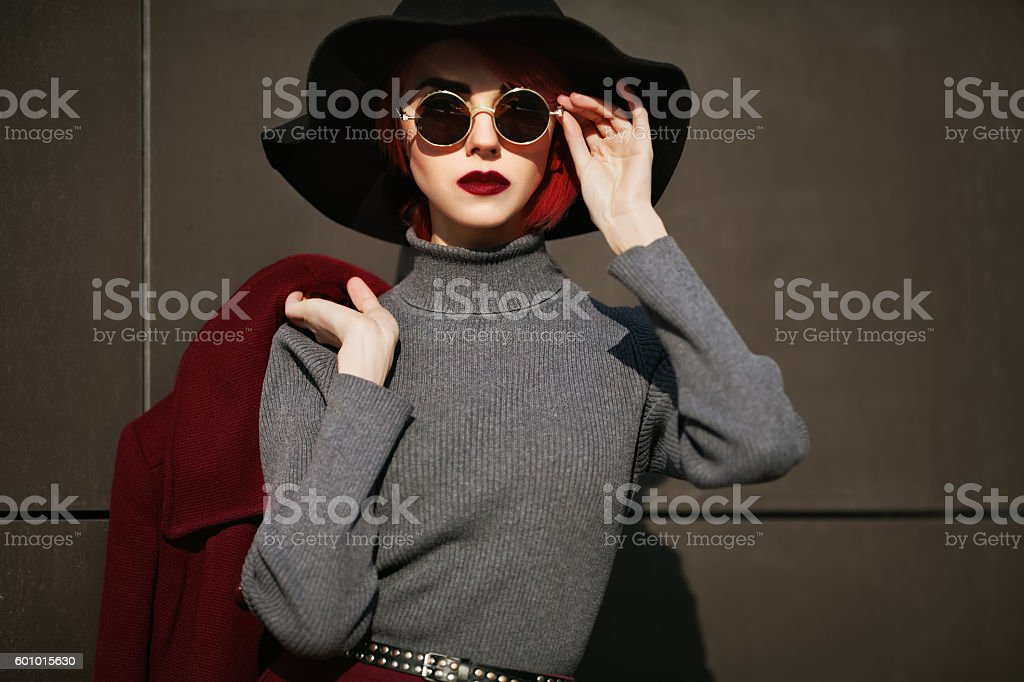 Closeup portrait of young beautiful fashionable woman with sunglasses. Lady stock photo