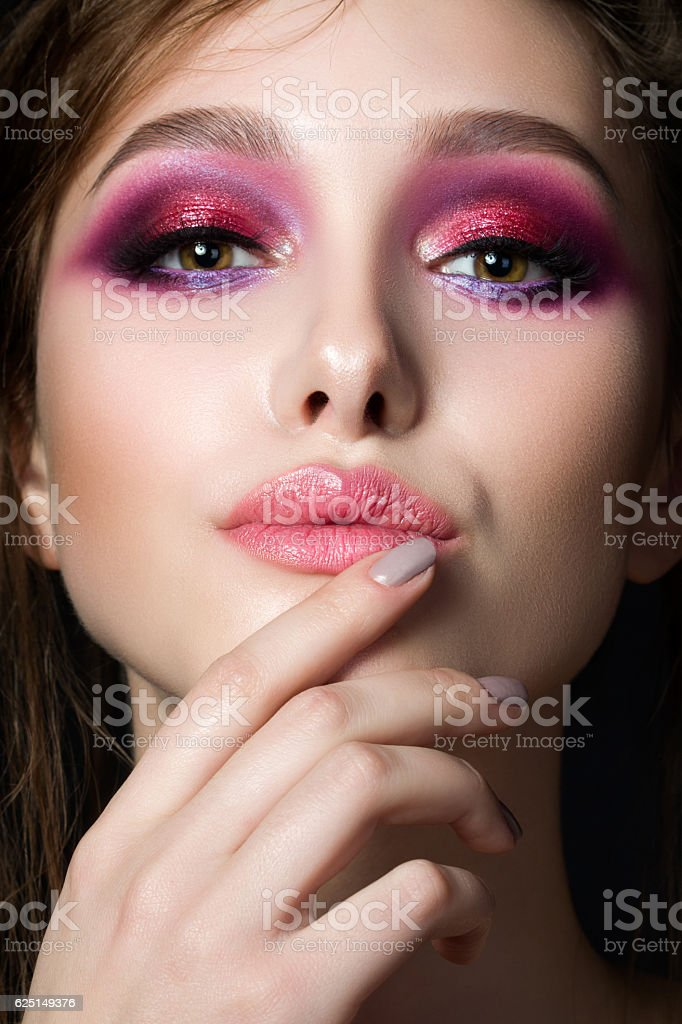 Closeup portrait of young beautiful woman stock photo
