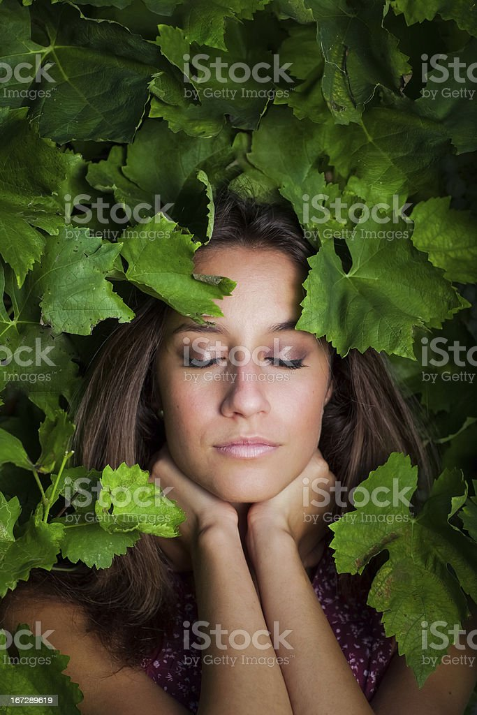 close-up portrait of young beautiful women in leafs stock photo