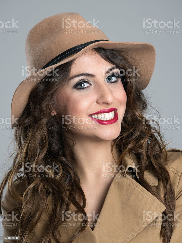 Closeup portrait of young beauty with white toothy smile stock photo