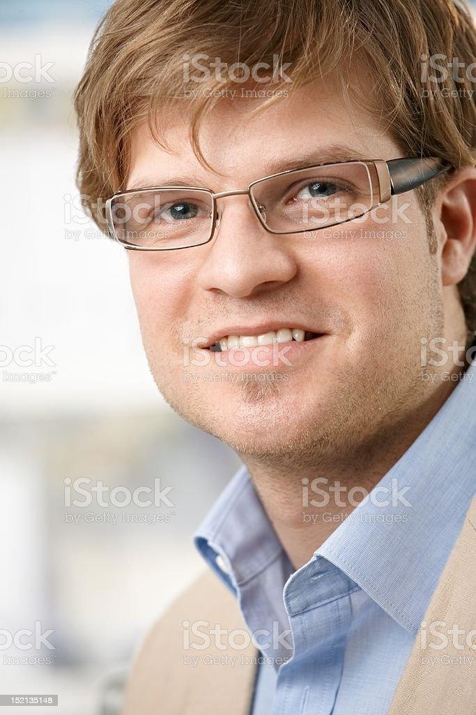 Closeup portrait of young businessman stock photo