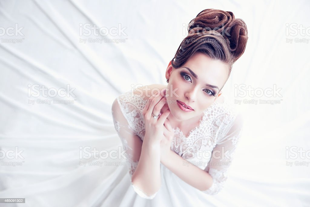 Closeup portrait of young gorgeous bride stock photo