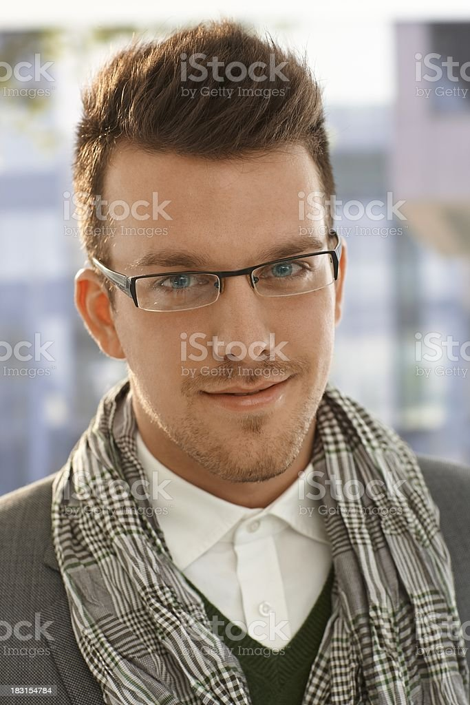 Closeup portrait of young man outdoors royalty-free stock photo
