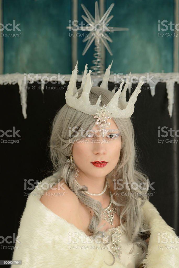 closeup portrait snow queen on throne stock photo