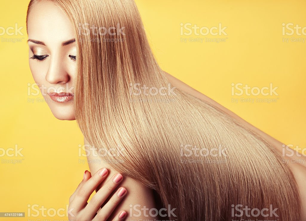 Close-up portrait with long hair. stock photo