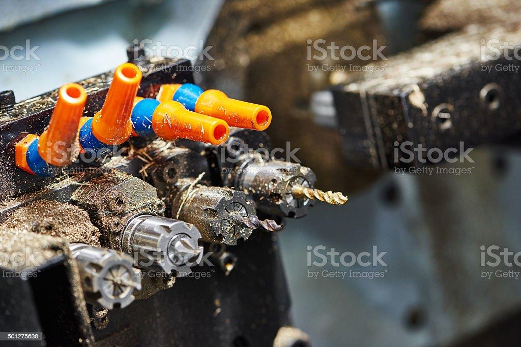 Close-up process of metal machining stock photo
