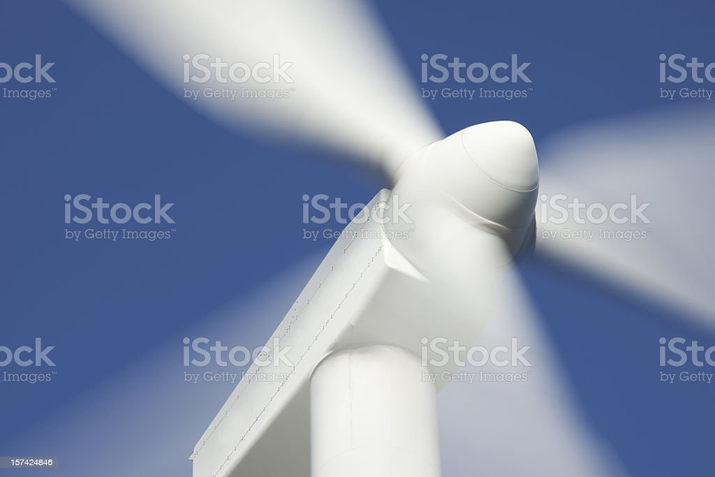 Close-up propeller spinning on windmill stock photo