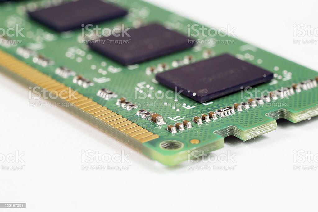 Closeup RAM memory module stock photo