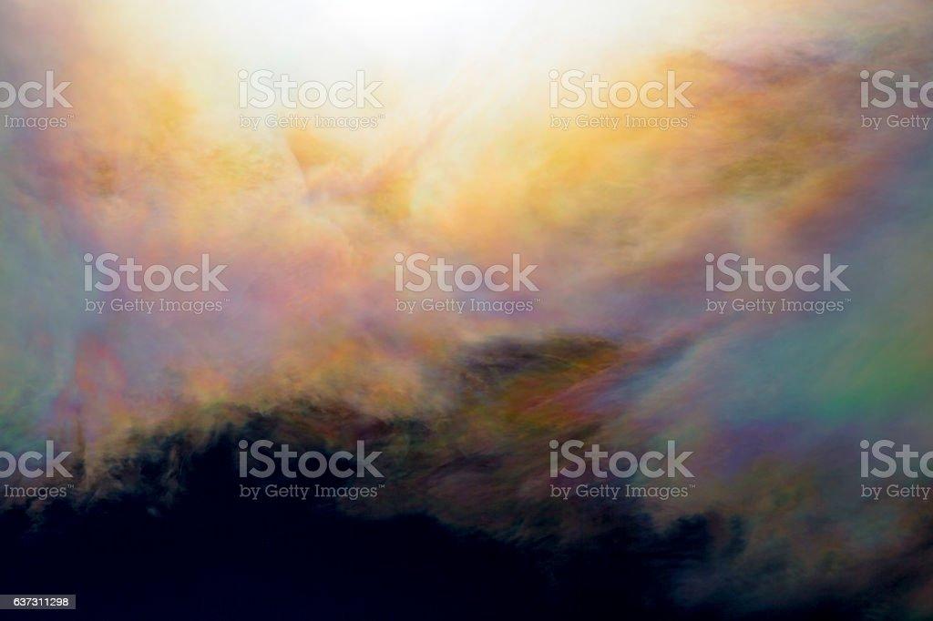 Close-up rare bright iridescent clouds stock photo