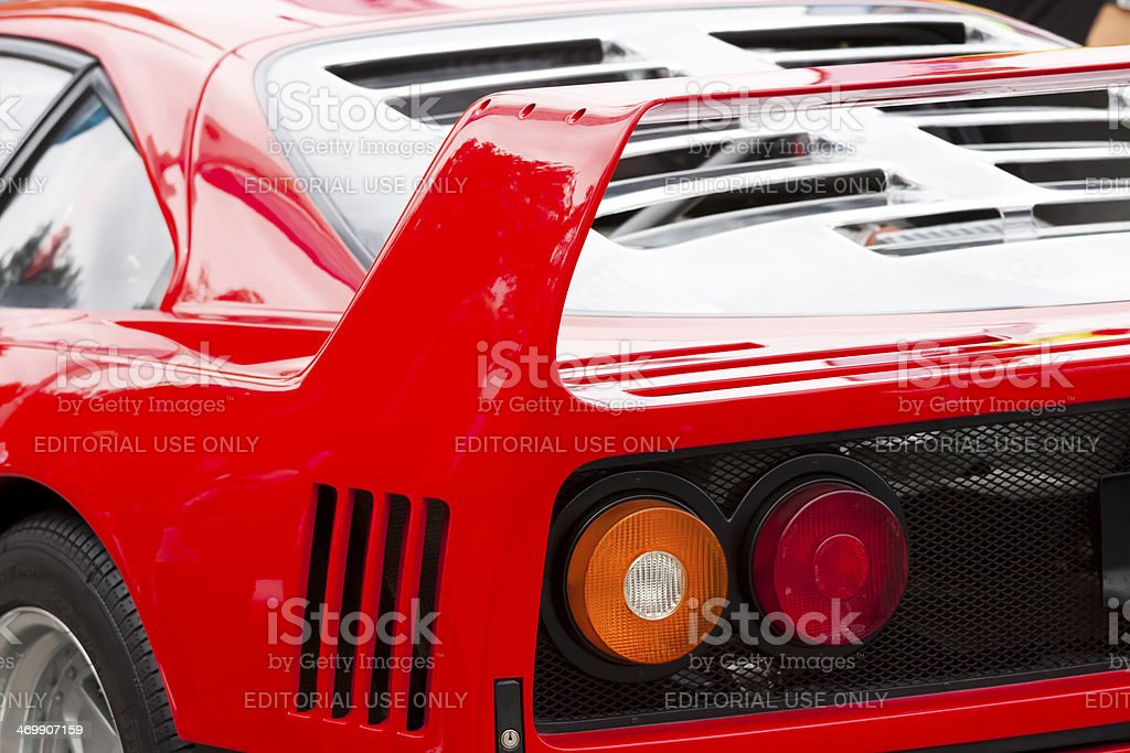 Closeup rear vew of red Ferrari F40 tailights stock photo