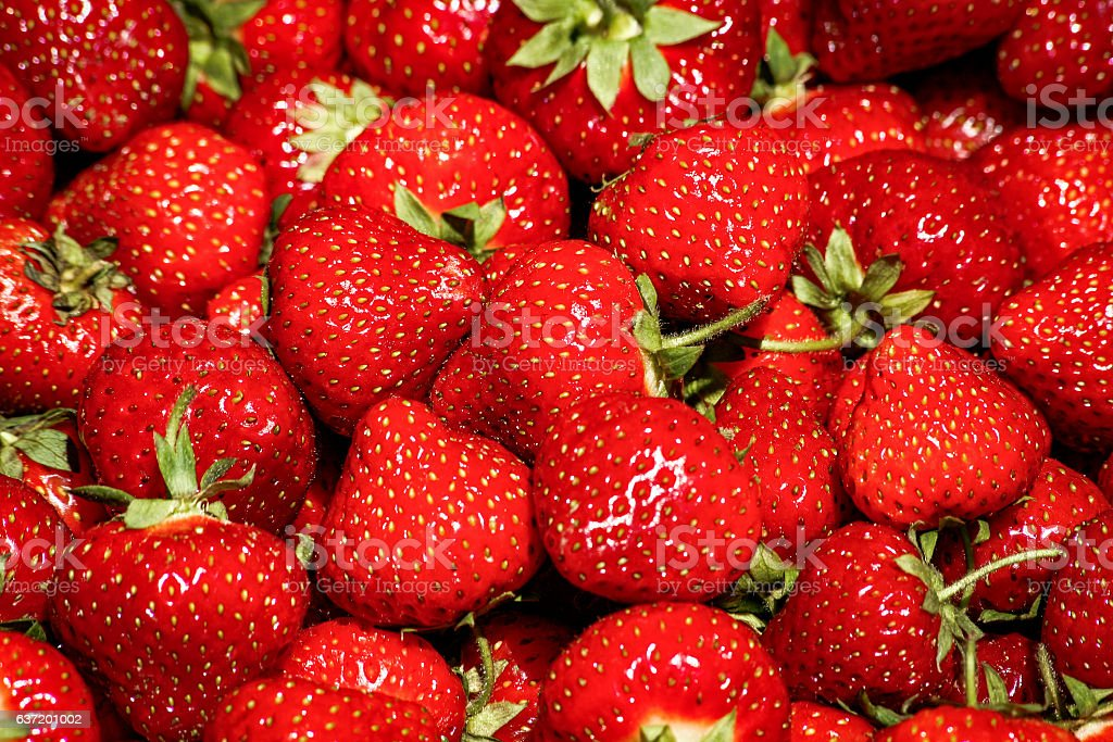 Close-up, red, ripe strawberries in local fresh food market stock photo