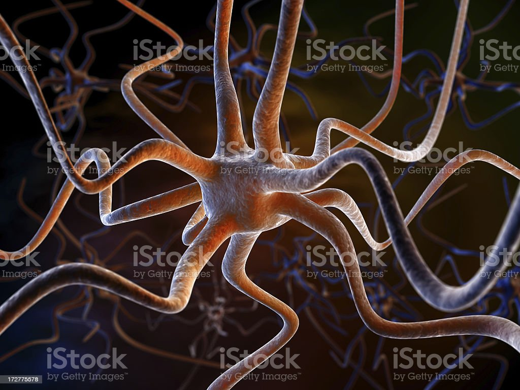 Closeup render of neuron brain cells royalty-free stock photo