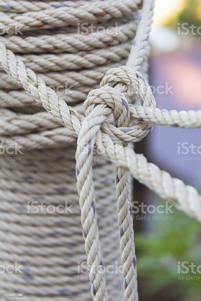 Closeup roll of rope stock photo