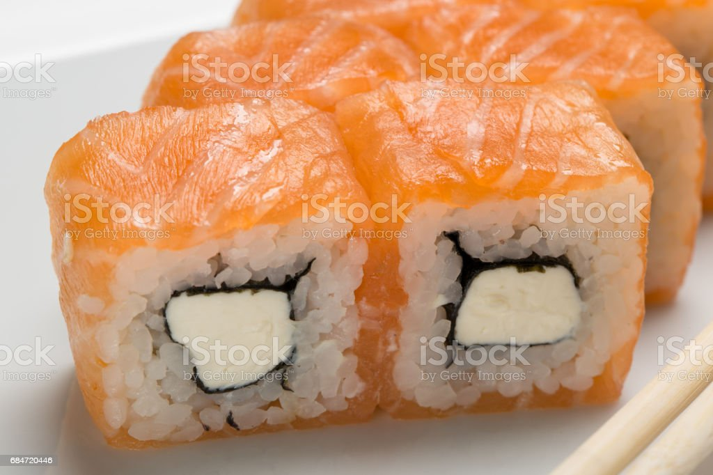 Close-up rolls with salmon stock photo
