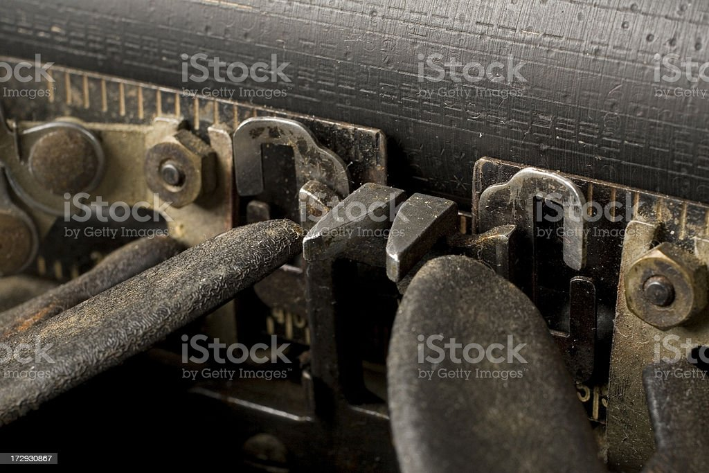 Close-up rusty and dusty typewriter 1940s royalty-free stock photo