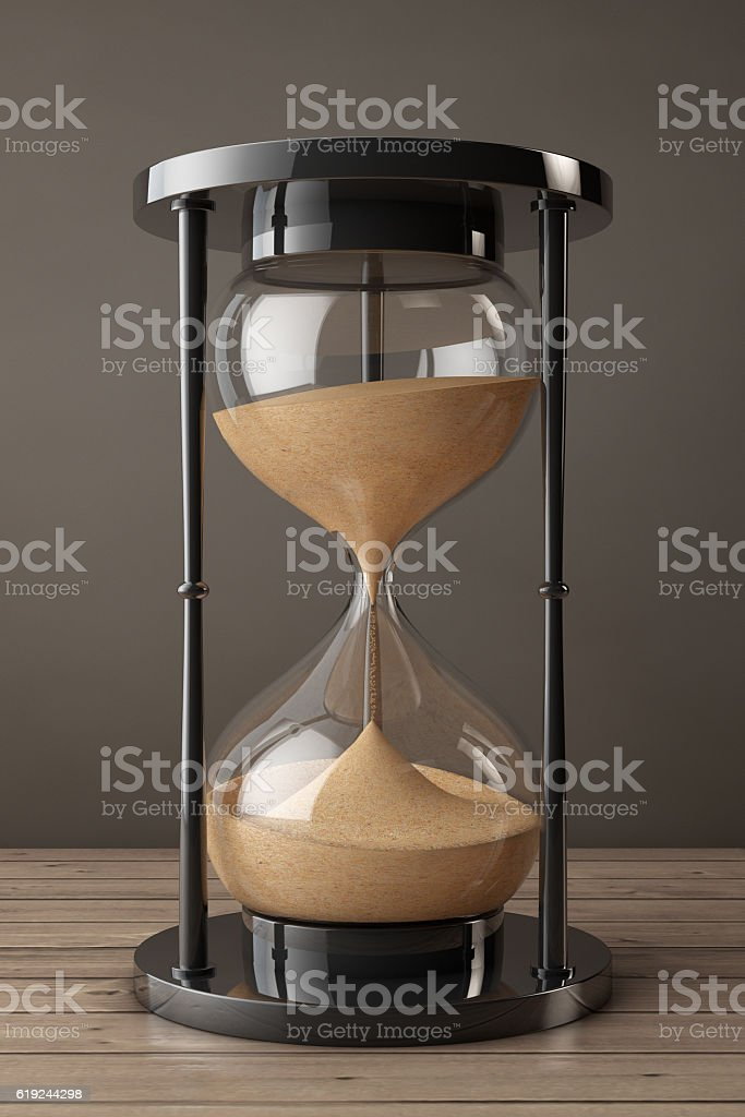 Closeup Sand hourglass. 3d Rendering stock photo