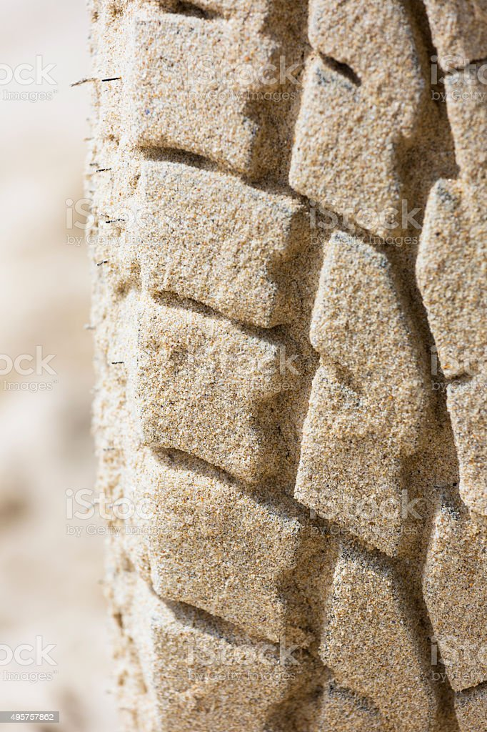 Closeup sand on tyre, copy space stock photo