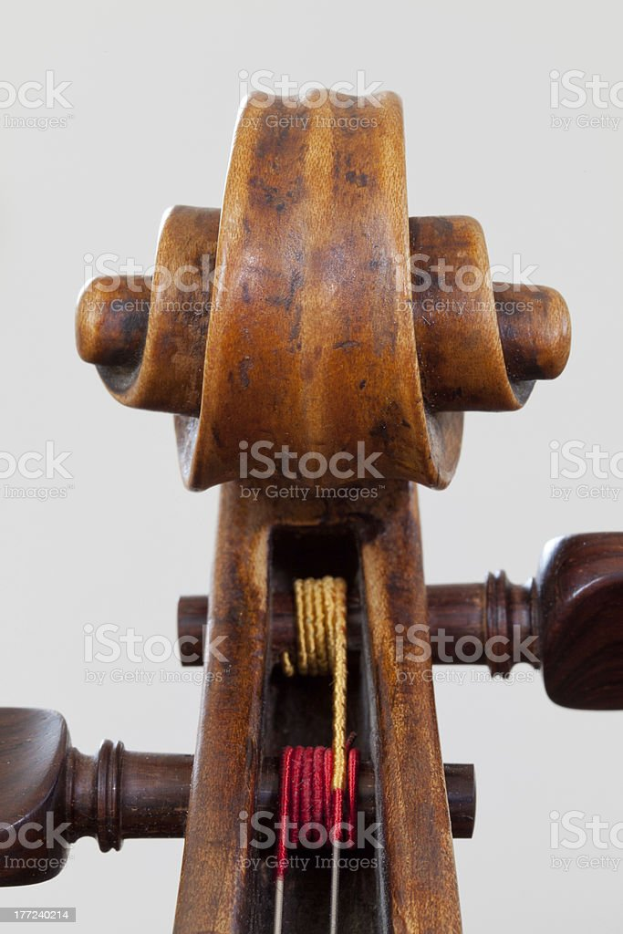 Closeup scroll of a 200 years old viola stock photo