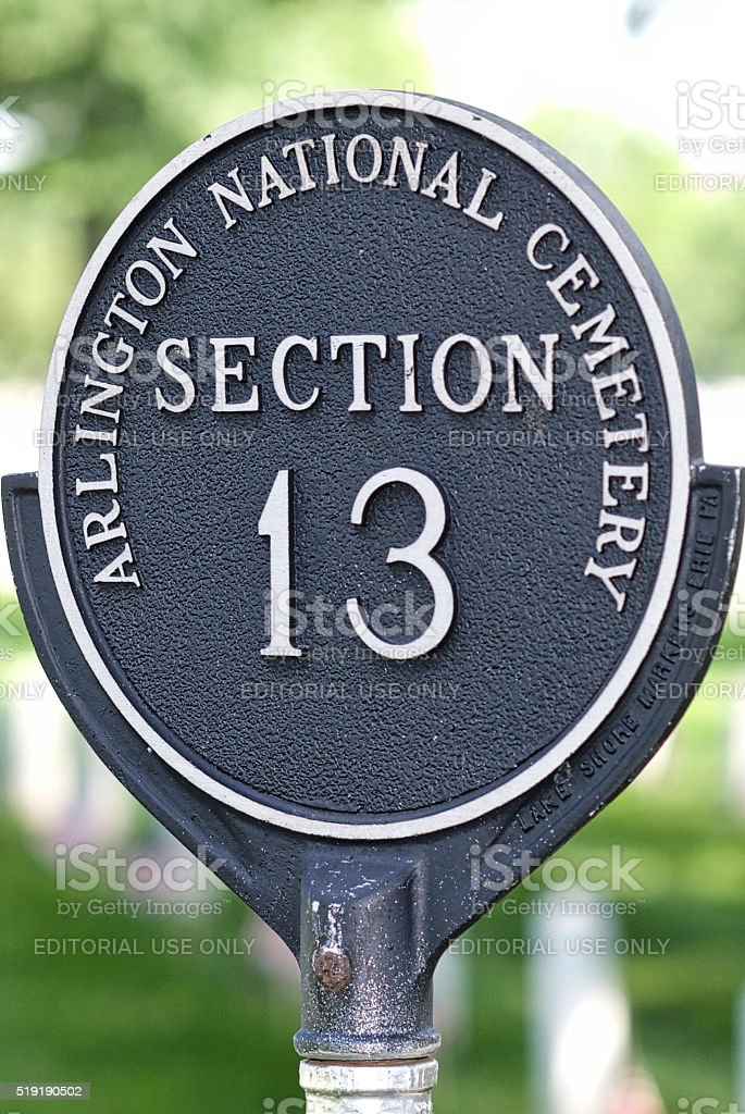 Close-up, Section 13 Marker, Arlington National Cemetery stock photo