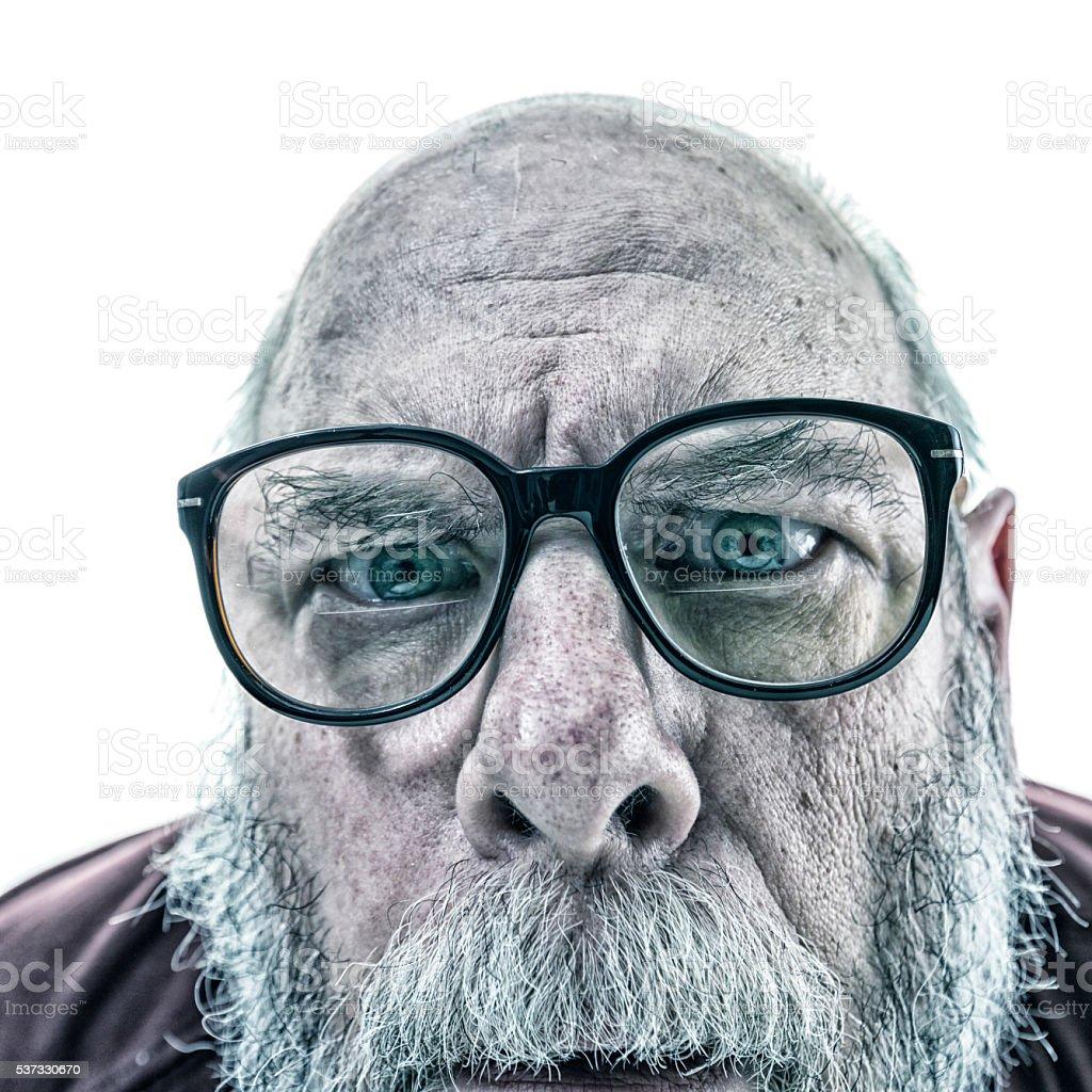Close-Up Senior Man Dandruff Horn Rim Nerd Glasses stock photo