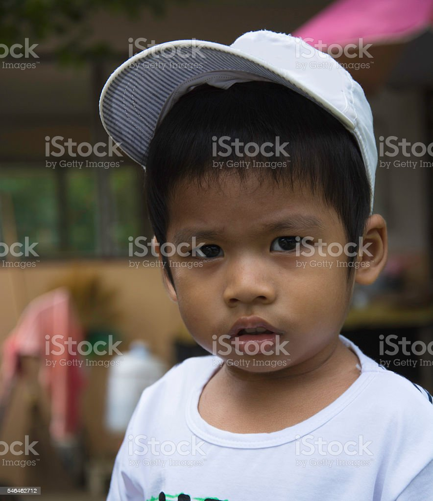 closeup serious 3 years old Thai kid, looks serious royalty-free stock photo