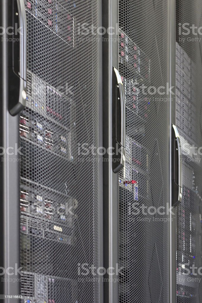 Closeup Servers in  IT Comms Room Rack royalty-free stock photo