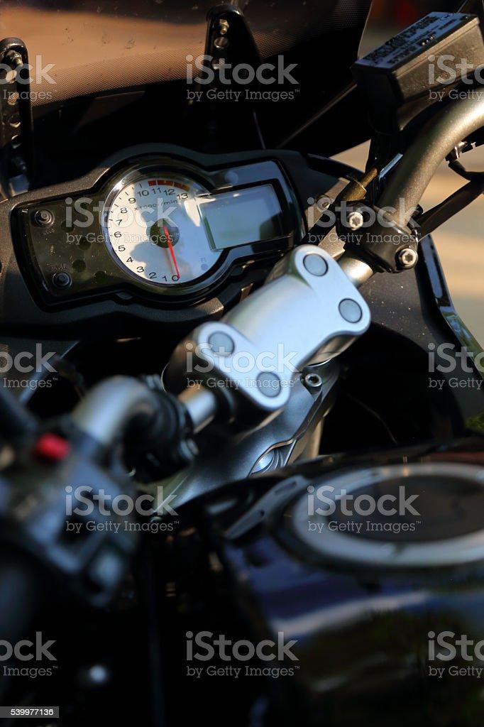 Closeup shoot of a steering wheel,speedometer,tachometer stock photo