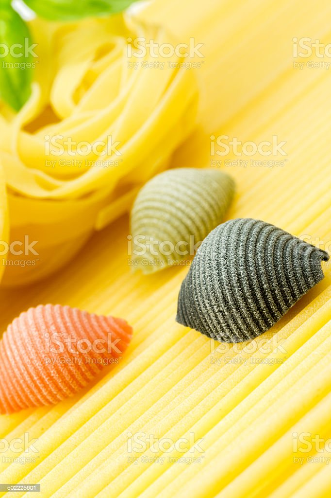 Closeup shoot of different types of pasta royalty-free stock photo