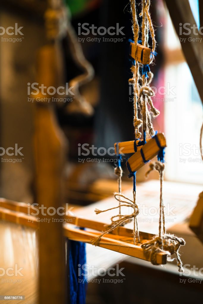 Closeup shoot of the authentic antique loom stock photo