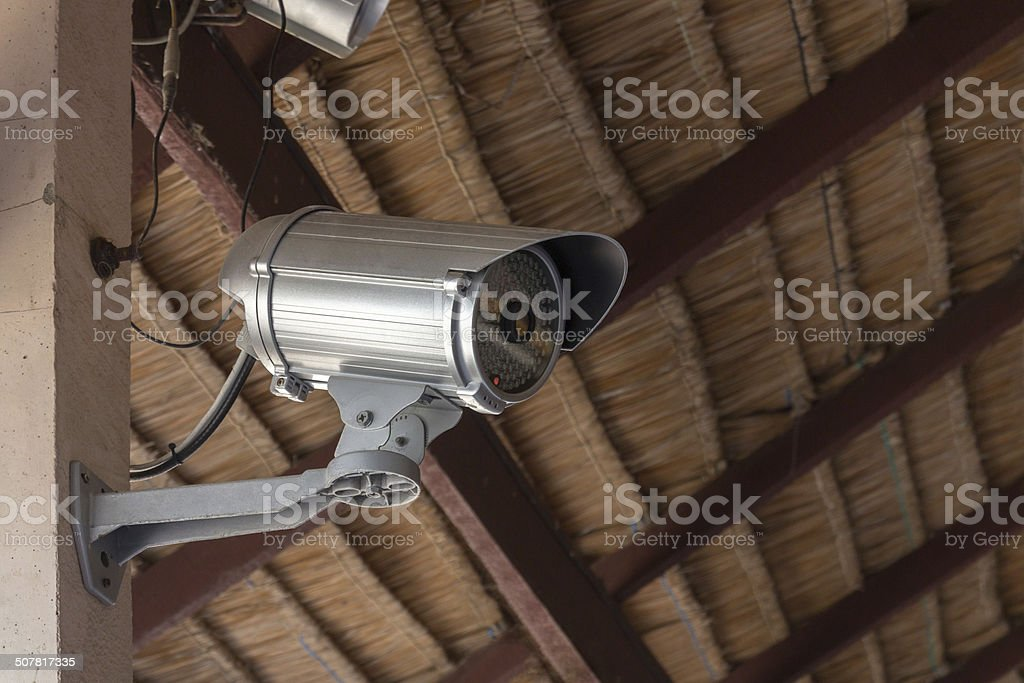 Close-Up shooting of CCTV , security camera in the building stock photo