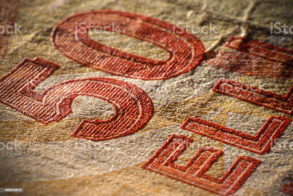 Close-up shot of 50 Turkish Lira banknote. stock photo
