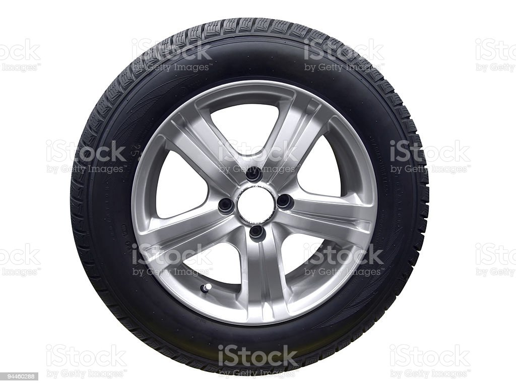 Close-up shot of a car tire isolated on a white background royalty-free stock photo