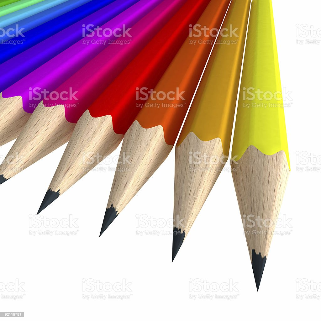 Close-up shot of a colorful pencil composition stock photo