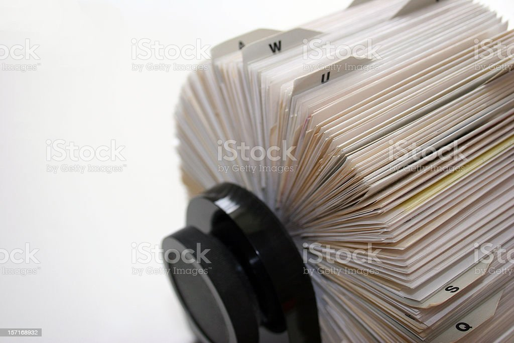 Close-up shot of a full Rolodex royalty-free stock photo