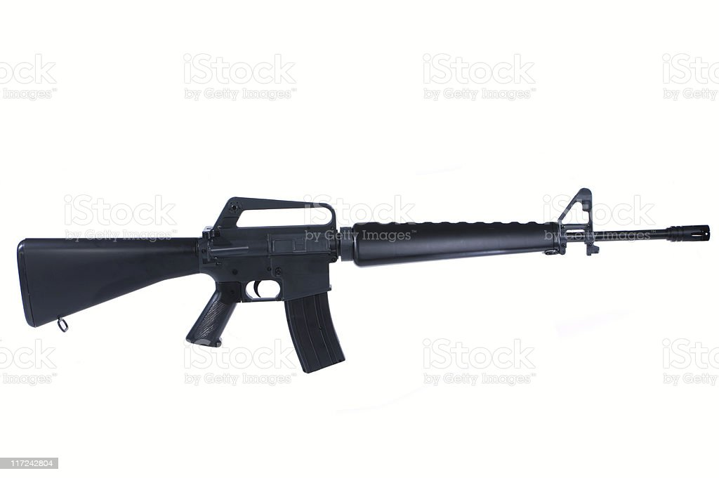 Close-up shot of a M16 rifle isolated on a white background stock photo
