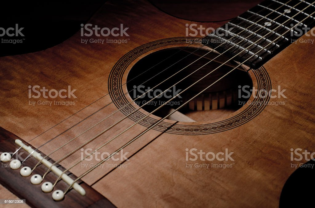 Close-up shot of a mahogany guitar stock photo