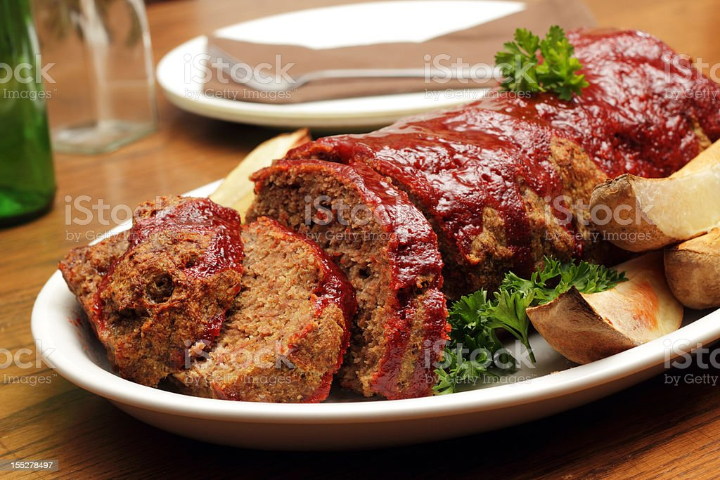 Close-up shot of a plate served with meatloaf stock photo