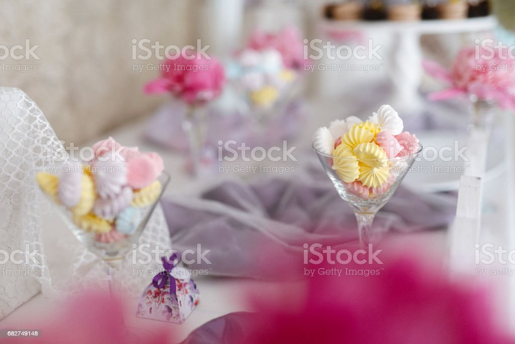 Closeup shot of a wedding candy bar decoration elements stock photo