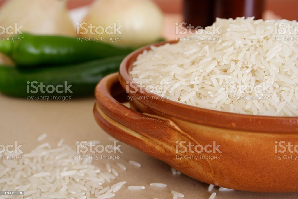 Close-up shot of basmati rice in a bowl stock photo
