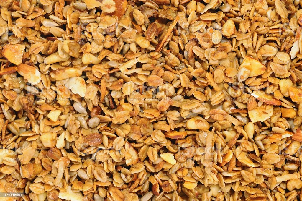A close-up shot of brown granola stock photo