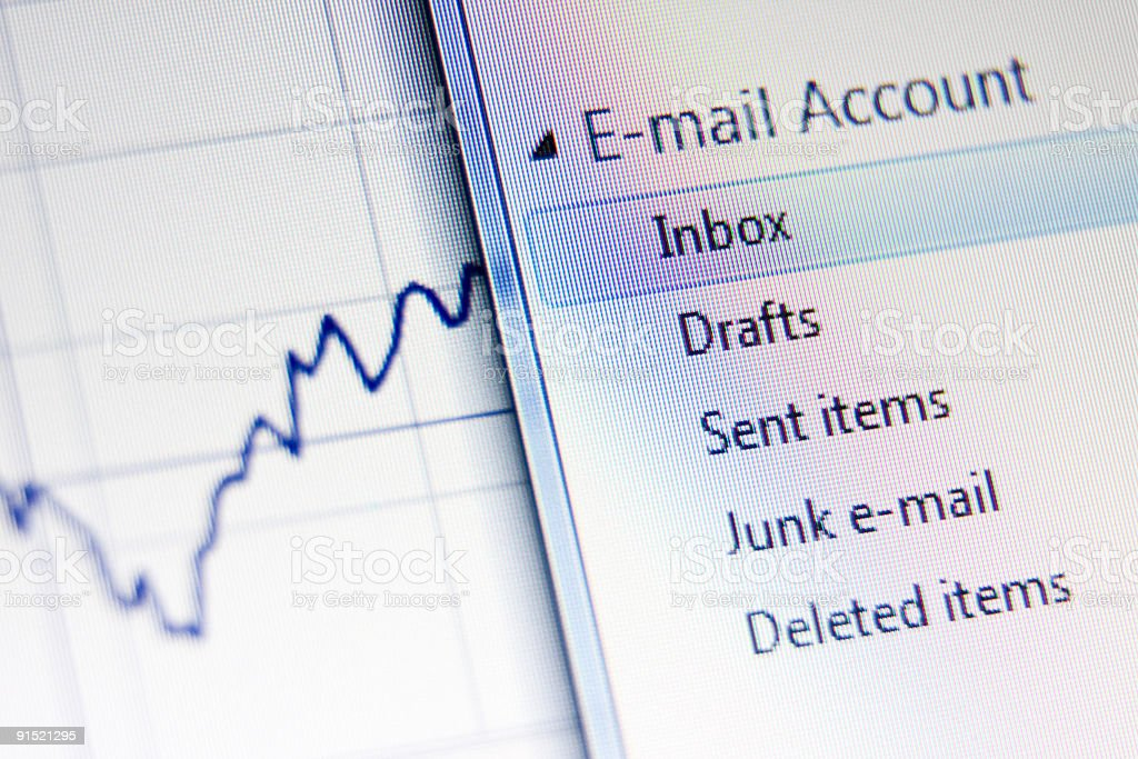 Close-up shot of email and business news stock photo