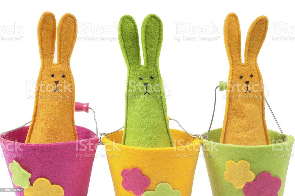Closeup shot of multicolored easter bunnies royalty-free stock photo