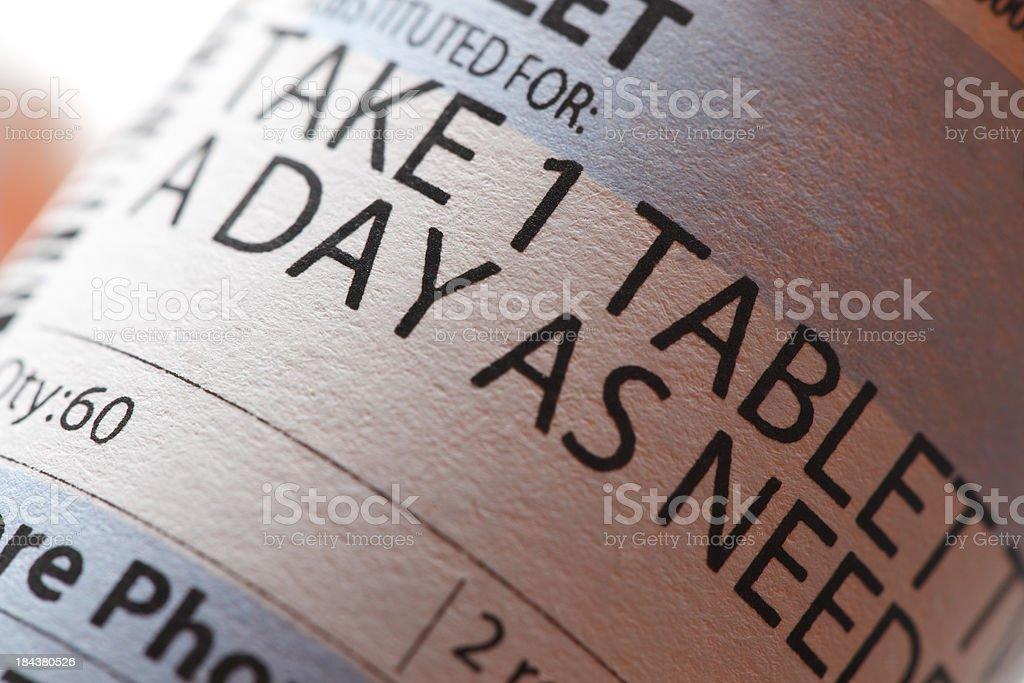 Close-up shot of prescription drug instructions stock photo