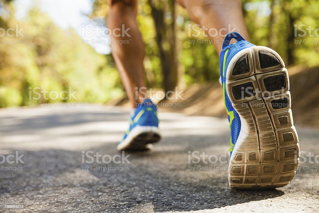 Closeup shot of runner's shoes stock photo